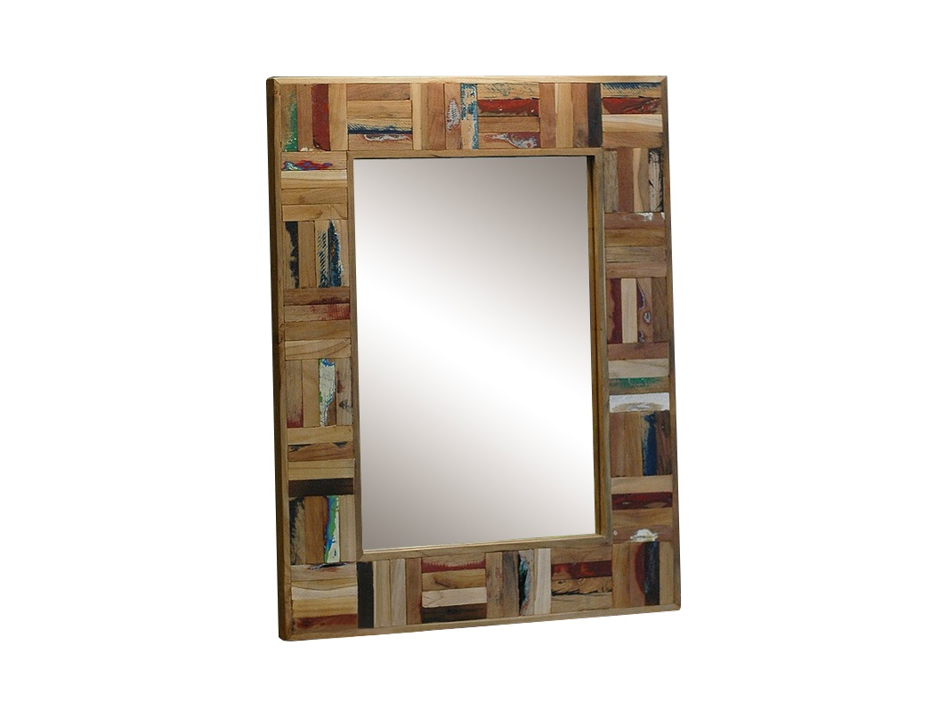 """Зеркало """"Ferum""""Настенные зеркала<br>Настенное зеркало прямоугольной формы можно повесить горизонтально или вертикально. Элементы рамы неравномерно окрашены, создавая эффект старых досок. Рама изготовлена из тикового дерева - прочного и влагоустойчивого, что позволит спокойно разместить зеркало во влажных помещениях - в ванной комнате, сауне или бане.<br><br>Material: Дерево<br>Ширина см: 60<br>Высота см: 80<br>Глубина см: 4"""
