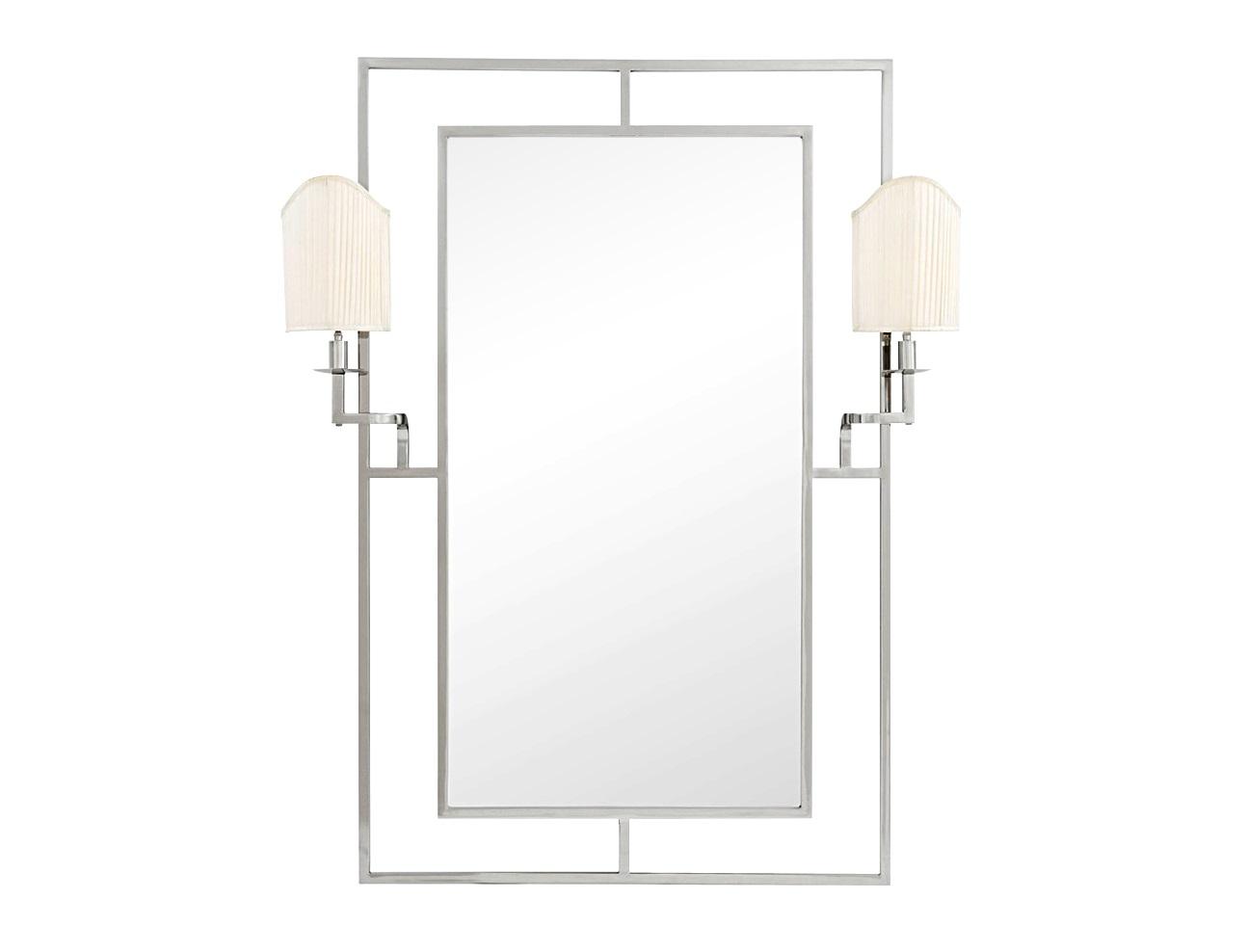 Зеркало Mirror AstaireНастенные зеркала<br>Зеркало Mirror Astaire в никелированной раме. На зеркале расположены 2 бра с текстильными абажурами белого цвета.&amp;lt;div&amp;gt;&amp;lt;div style=&amp;quot;line-height: 24.9999px;&amp;quot;&amp;gt;&amp;lt;br&amp;gt;&amp;lt;/div&amp;gt;&amp;lt;div style=&amp;quot;line-height: 24.9999px;&amp;quot;&amp;gt;Вид цоколя: Е14&amp;lt;/div&amp;gt;&amp;lt;div style=&amp;quot;line-height: 24.9999px;&amp;quot;&amp;gt;Мощность: 40W&amp;lt;/div&amp;gt;&amp;lt;div style=&amp;quot;line-height: 24.9999px;&amp;quot;&amp;gt;Количество ламп: 2&amp;lt;/div&amp;gt;&amp;lt;/div&amp;gt;<br><br>Material: Стекло<br>Ширина см: 113.0<br>Высота см: 140.0