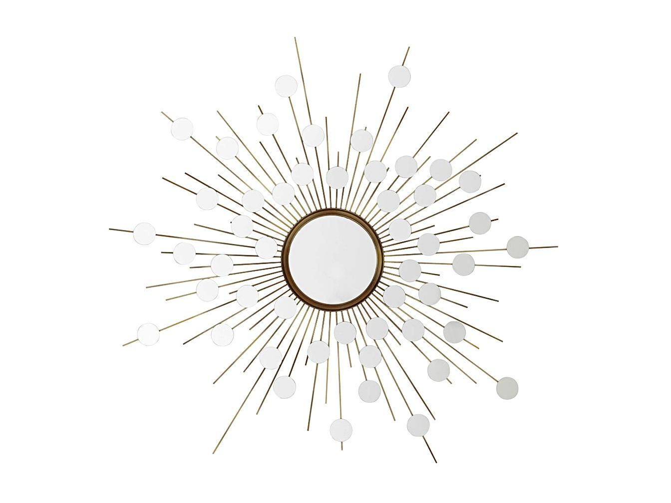 ЗеркалоНастенные зеркала<br>Зеркало Mirror Reflections в металлической раме золотого цвета с оригинальным дизайном в виде солнца.<br><br>Material: Металл<br>Ширина см: 155.0<br>Высота см: 155.0