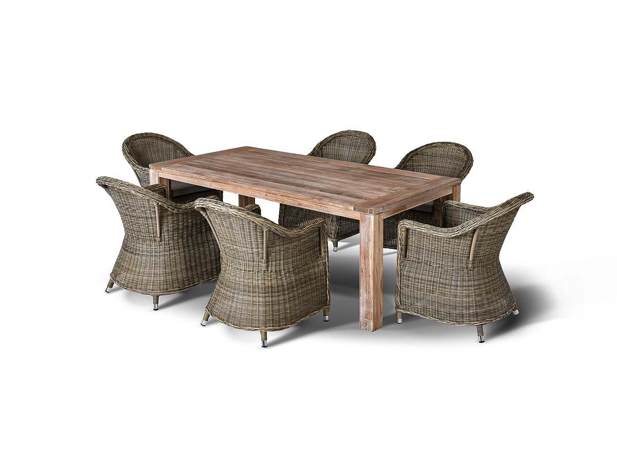 Арбаро, обеденная группаКомплекты уличной мебели<br>Обеденная группа на 6 персон, стол из тикового дерева. Все стулья с подлокотниками и подушками, алюминиевый каркас, искусственный ротанг.&amp;amp;nbsp;&amp;lt;div&amp;gt;&amp;lt;br&amp;gt;&amp;lt;/div&amp;gt;&amp;lt;div&amp;gt;Кресло Равена &amp;amp;nbsp;: 57х68х81 - 6шт.&amp;amp;nbsp;&amp;lt;/div&amp;gt;&amp;lt;div&amp;gt;Стол Витория : 200х100х77 - 1шт.&amp;lt;/div&amp;gt;<br><br>Material: Искусственный ротанг<br>Width см: 200<br>Depth см: 100<br>Height см: 77