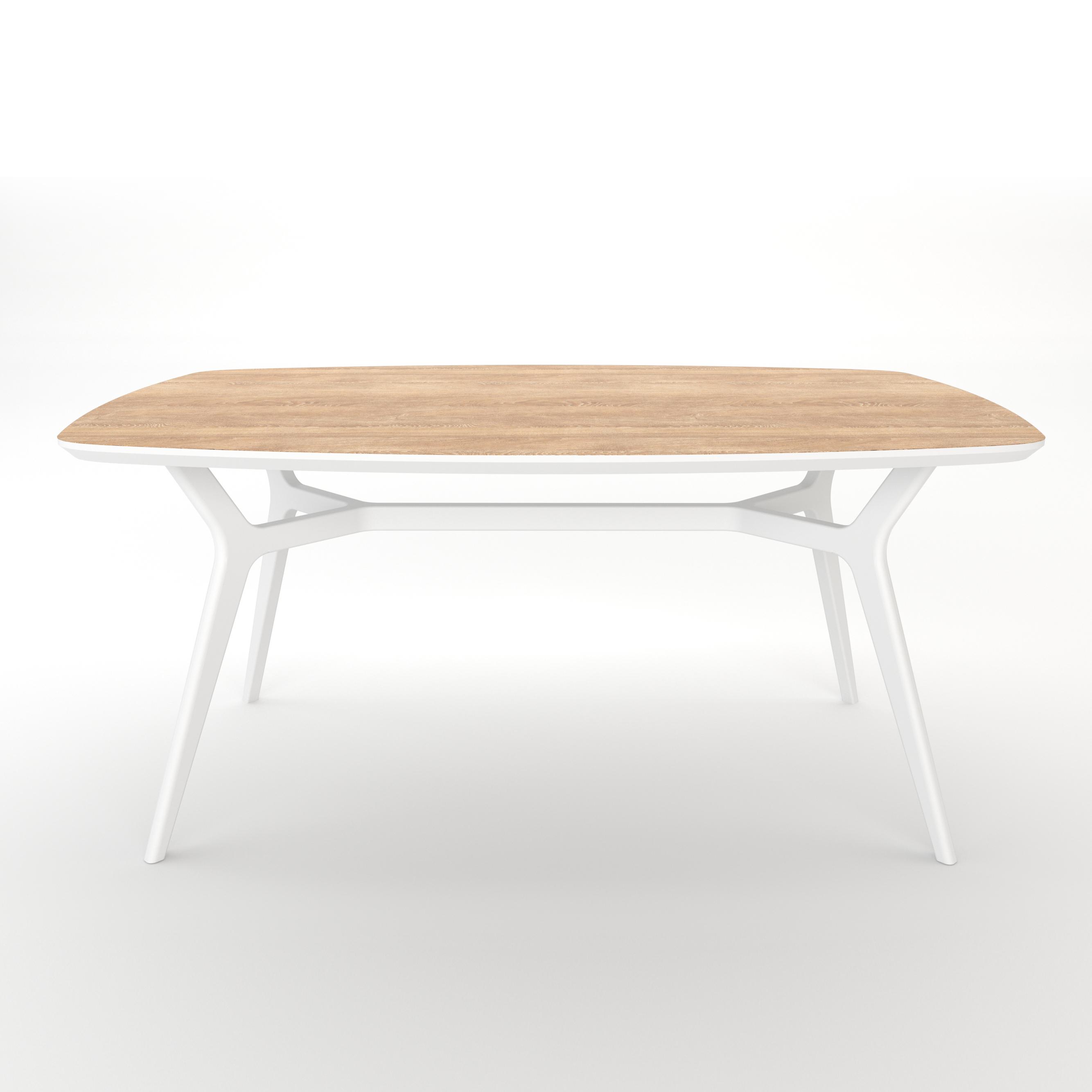 Стол JohannОбеденные столы<br>Тщательная проработка деталей и пропорций стола позволяет ему идеально вписаться в любой интерьер.Отделка столешницы шпоном дуба, подстолье выкрашено в белый цвет. Сборка не требуется.  <br><br>kit: None<br>gender: None