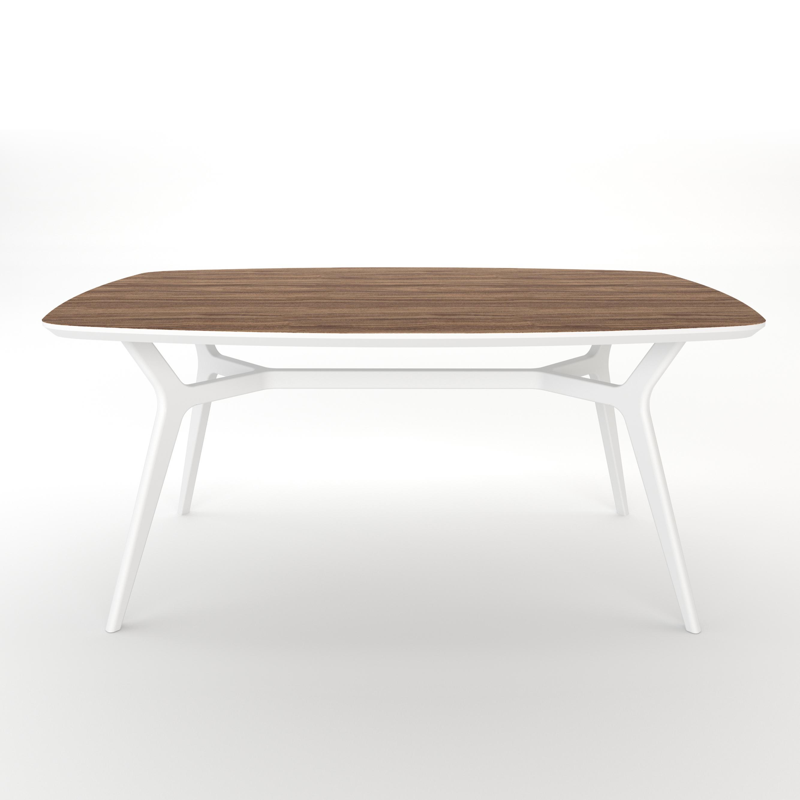 Стол JohannОбеденные столы<br>Тщательная проработка деталей и пропорций стола позволяет ему идеально вписаться в любой интерьер .Отделка столешницы шпоном ореха, подстолье выкрашено в белый цвет. Сборка не требуется.<br><br>kit: None<br>gender: None