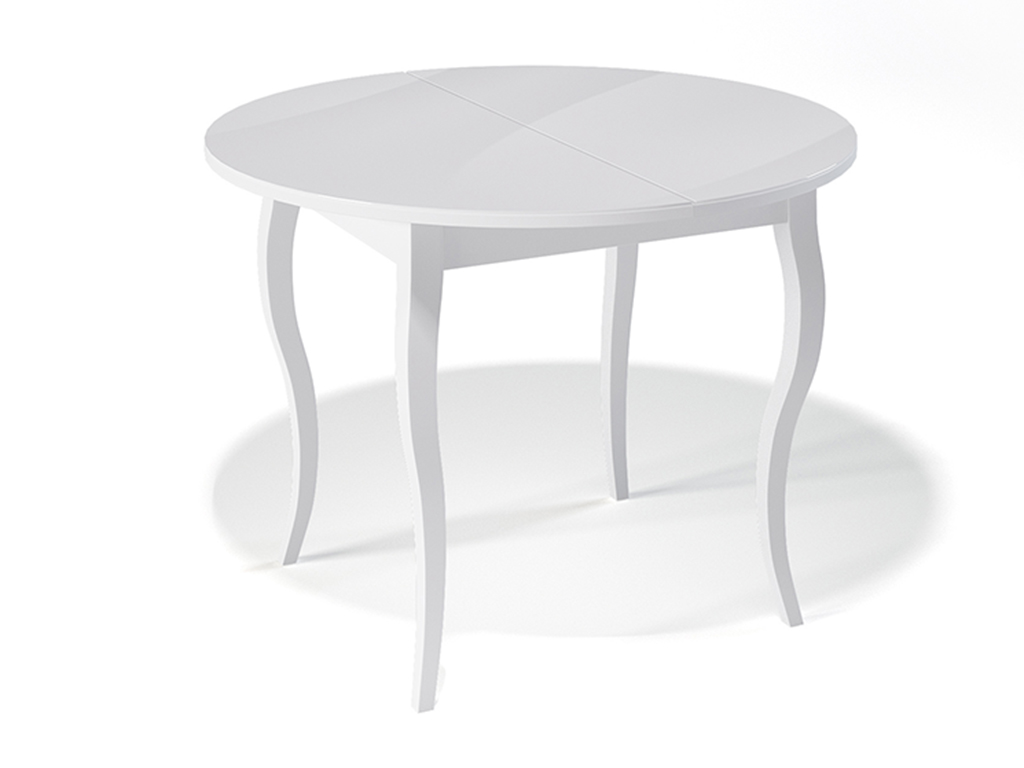 Стол обеденный KennerОбеденные столы<br>Стол для гостиной &amp;quot;Kenner 1000 С&amp;quot; белый/стекло белое. Ножки стола выполнены из массива бука, столешница - ДСП+стекло 4мм. Механизм раскладки: синхронный, легкого скольжения. На ножках установлены регулировочные винты. Требует сборки, фурнитура в комплекте. Стол раскладной,вставка &amp;quot;бабочка&amp;quot; со стеклом. Размер столешницы в разложенном виде: 130х100 см.<br><br>Material: Дерево<br>Ширина см: 100.0<br>Высота см: 75.0<br>Глубина см: 100.0