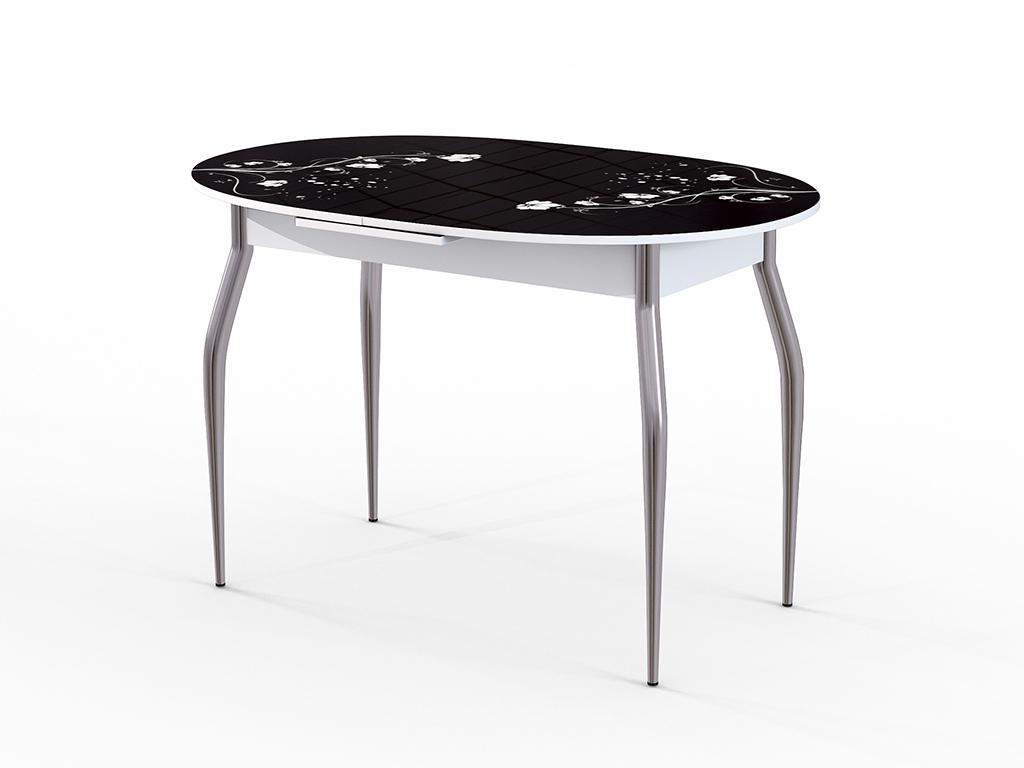 Стол обеденный ФелицияОбеденные столы<br>Красивый стол для кухни или гостиной &amp;quot;Фелиция&amp;quot; стекло черное. Ножки - хромированный металл, столешница: МДФ + каленое стекло 4 мм. Механизм раскладки: микролифт.Стол требует сборки, фурнитура в комплекте. Габариты столешницы в разложенном виде: 150х80 см.<br><br>Material: Дерево<br>Ширина см: 120.0<br>Высота см: 75.0<br>Глубина см: 80.0