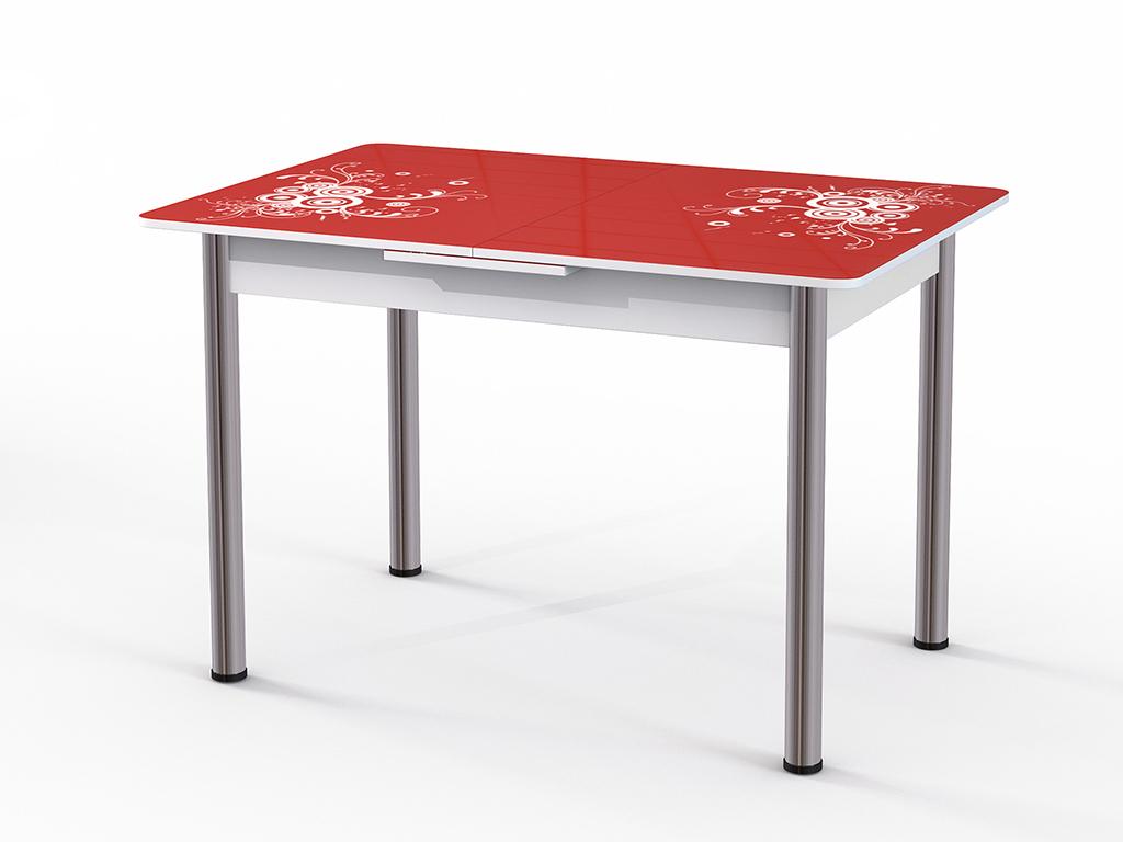 Стол обеденный ГрацияОбеденные столы<br>Красивый стол для кухни или гостиной &amp;quot;Грация&amp;quot; стекло красное. Ножки - хромированный металл, столешница: МДФ + каленое стекло 4 мм. Механизм раскладки: микролифт.Стол требует сборки, фурнитура в комплекте. Габариты столешницы в разложенном виде: 150х80 см.<br><br>Material: Дерево<br>Ширина см: 120<br>Высота см: 77<br>Глубина см: 80