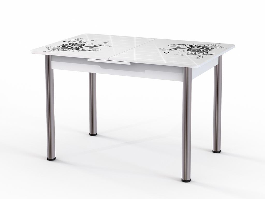 Стол обеденный ГрацияОбеденные столы<br>Красивый стол для кухни или гостиной  Грация стекло белое. Ножки - хромированный металл, столешница: МДФ + каленое стекло 4 мм. Механизм раскладки: микролифт.Стол требует сборки, фурнитура в комплекте. Габариты столешницы в разложенном виде: 150х80 см.<br><br>kit: None<br>gender: None