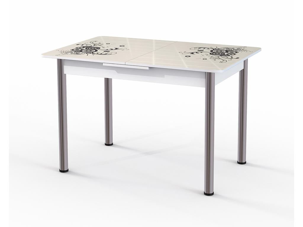 Стол обеденный ГрацияОбеденные столы<br>Красивый стол для кухни или гостиной &amp;quot;Грация&amp;quot; стекло беж. Ножки - хромированный металл, столешница: МДФ + каленое стекло 4 мм. Механизм раскладки: микролифт.Стол требует сборки, фурнитура в комплекте. Габариты столешницы в разложенном виде: 150х80 см.<br><br>Material: Дерево<br>Ширина см: 120<br>Высота см: 77<br>Глубина см: 80