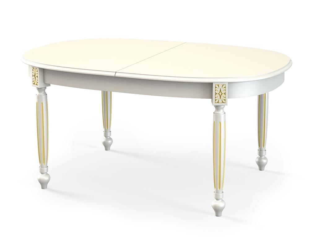 Стол обеденный СДОбеденные столы<br>Стол для гостиной &amp;quot;СД214&amp;quot; эмаль слоновая кость патина золото. Ножки стола выполнены из массива бука, столешница - шпон + МДФ 22 мм. Механизм раскладки: синхронный. Требует сборки, фурнитура в комплекте. Стол раскладной, размер столешницы в разложенном виде: 200х105 см.<br><br>Material: Дерево<br>Ширина см: 160<br>Высота см: 75<br>Глубина см: 105