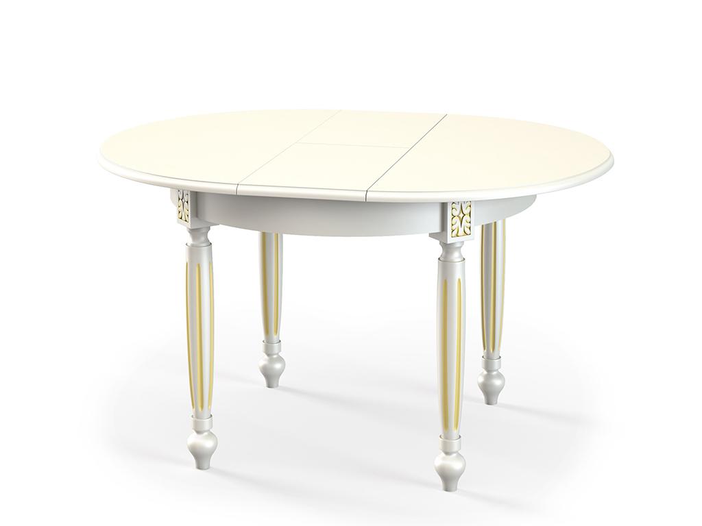 Стол обеденный СДОбеденные столы<br>Стол для гостиной  &amp;quot;СД215&amp;quot; эмаль слоновая кость патина золото. Ножки стола выполнены из массива бука, столешница - шпон + МДФ 22 мм. Механизм раскладки: синхронный. Требует сборки, фурнитура в комплекте. Стол раскладной, размер столешницы в разложенном виде: 130х100 см.<br><br>Material: Дерево<br>Ширина см: 100.0<br>Высота см: 75.0<br>Глубина см: 100.0