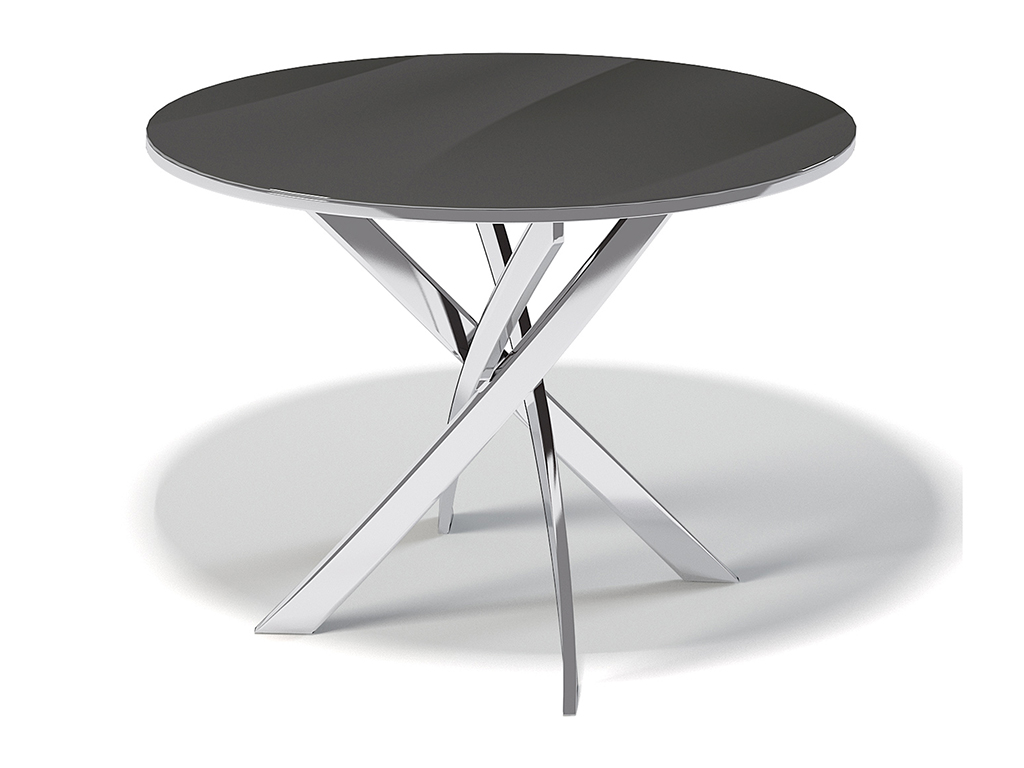Стол обеденный KennerОбеденные столы<br>Оригинальный стол  &amp;quot;R1000&amp;quot; хром /стекло черное для гостиной. Ножки стола выполнены из хромированного металла (сталь). Столешница - стекло 10 мм. Требует сборки, фурнитура в комплекте. Стол нераскладной.<br><br>Material: Стекло<br>Высота см: 75