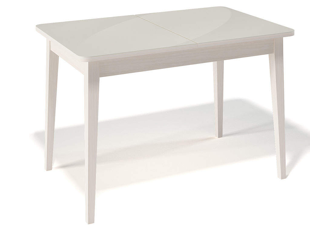 Стол обеденный KennerОбеденные столы<br>Стол для гостиной &amp;quot;Kenner 1100 М&amp;quot; бук/стекло крем. Ножки стола выполнены из массива бука, столешница - ДСП+стекло 4мм. Механизм раскладки: синхронный, легкого скольжения. На ножках установлены регулировочные винты. Требует сборки, фурнитура в комплекте. Стол раскладной,вставка &amp;quot;бабочка&amp;quot; со стеклом. Размер столешницы в разложенном виде: 150х70 см.<br><br>Material: Дерево<br>Ширина см: 110<br>Высота см: 75<br>Глубина см: 70