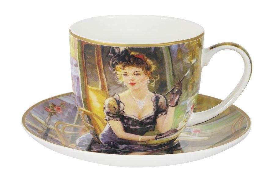 Чашка с блюдцем Дама за столикомЧайные пары, чашки и кружки<br><br><br>Material: Фарфор