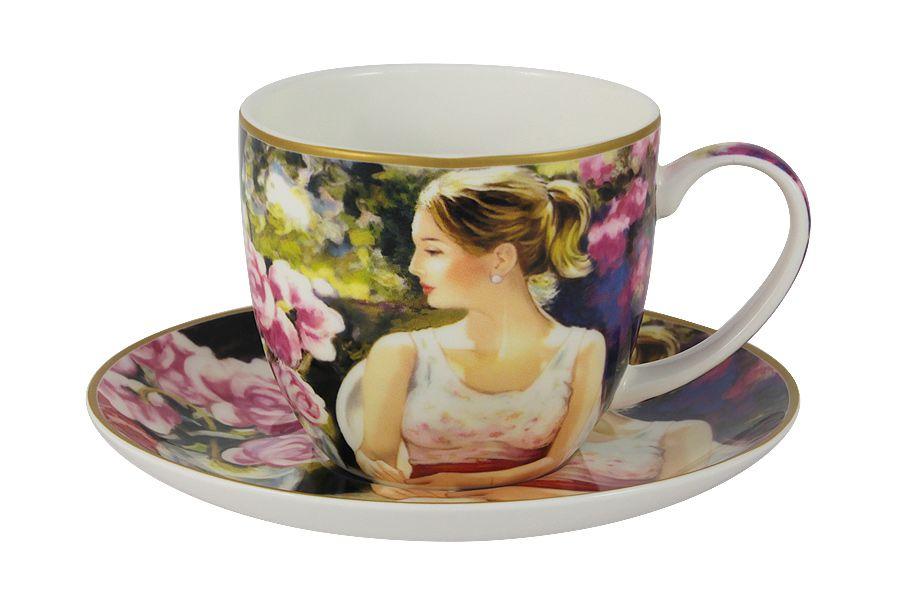 Чашка с блюдцем Девушка с книгойЧайные пары, чашки и кружки<br><br><br>Material: Фарфор
