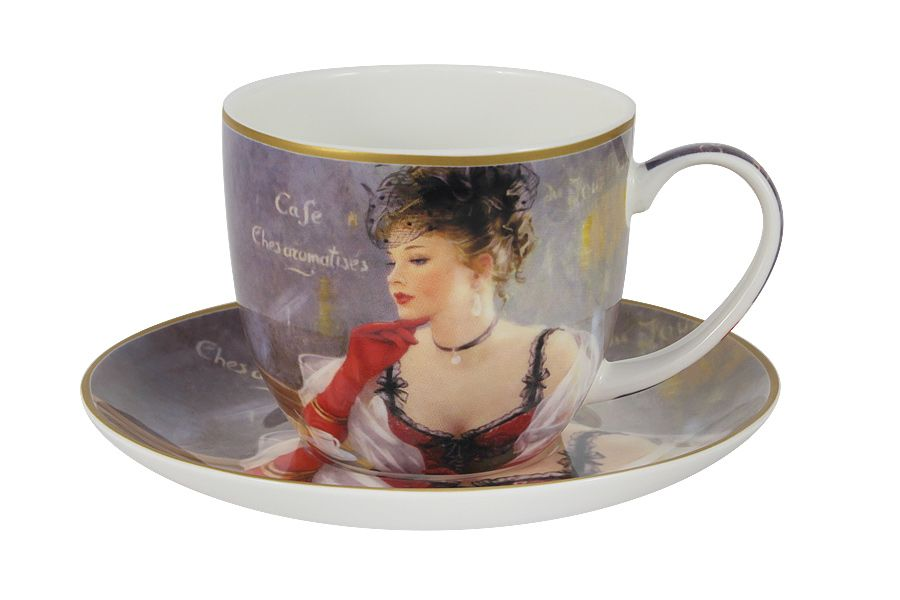 Чашка с блюдцем За чашкой кофеЧайные пары, чашки и кружки<br><br><br>Material: Фарфор