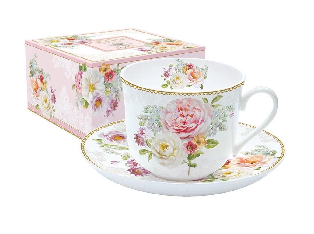 Чашка с блюдцем Цветочная романтикаЧайные пары, чашки и кружки<br><br><br>Material: Фарфор