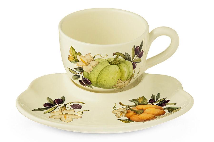 Чашка с блюдцем ТыкваЧайные пары, чашки и кружки<br><br><br>Material: Керамика