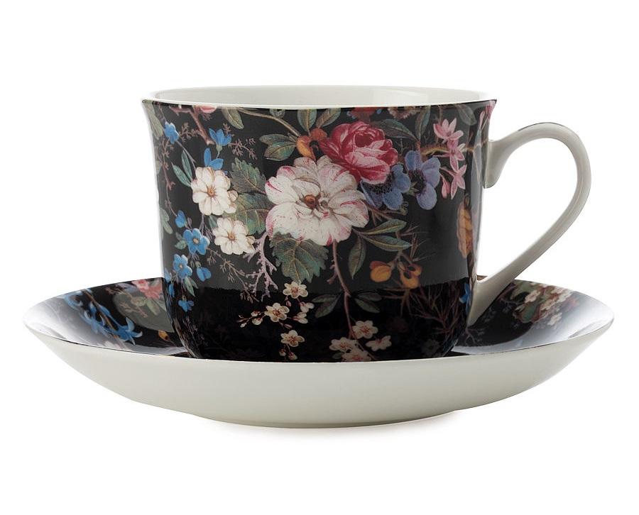 Чашка с блюдцем Полночные цветыЧайные пары, чашки и кружки<br><br><br>Material: Фарфор