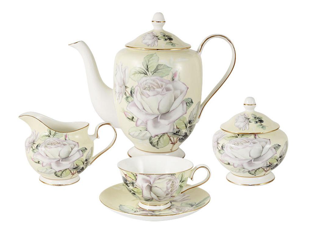 Чайный сервиз из 15 предметов на 6 персон Белые розыЧайные сервизы<br>&amp;lt;div&amp;gt;6 чашек 0,25л&amp;lt;/div&amp;gt;&amp;lt;div&amp;gt;6 блюдец, чайник 1.0л&amp;lt;/div&amp;gt;&amp;lt;div&amp;gt;сахарница 0,4л&amp;lt;/div&amp;gt;&amp;lt;div&amp;gt;молочник 0,3л&amp;lt;/div&amp;gt;<br><br>Material: Фарфор