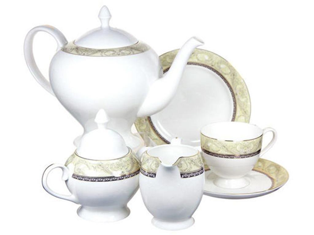Чайный сервиз 21 предмет на 6 персон РомантикаЧайные сервизы<br>&amp;lt;div&amp;gt;6 десертных тарелок 18 см&amp;lt;/div&amp;gt;&amp;lt;div&amp;gt;6 чашек 0,2л&amp;lt;/div&amp;gt;&amp;lt;div&amp;gt;сливочник0,3л&amp;lt;/div&amp;gt;&amp;lt;div&amp;gt;чайник1,5л&amp;lt;/div&amp;gt;&amp;lt;div&amp;gt;сахарница 0,35л&amp;lt;/div&amp;gt;<br><br>Material: Фарфор