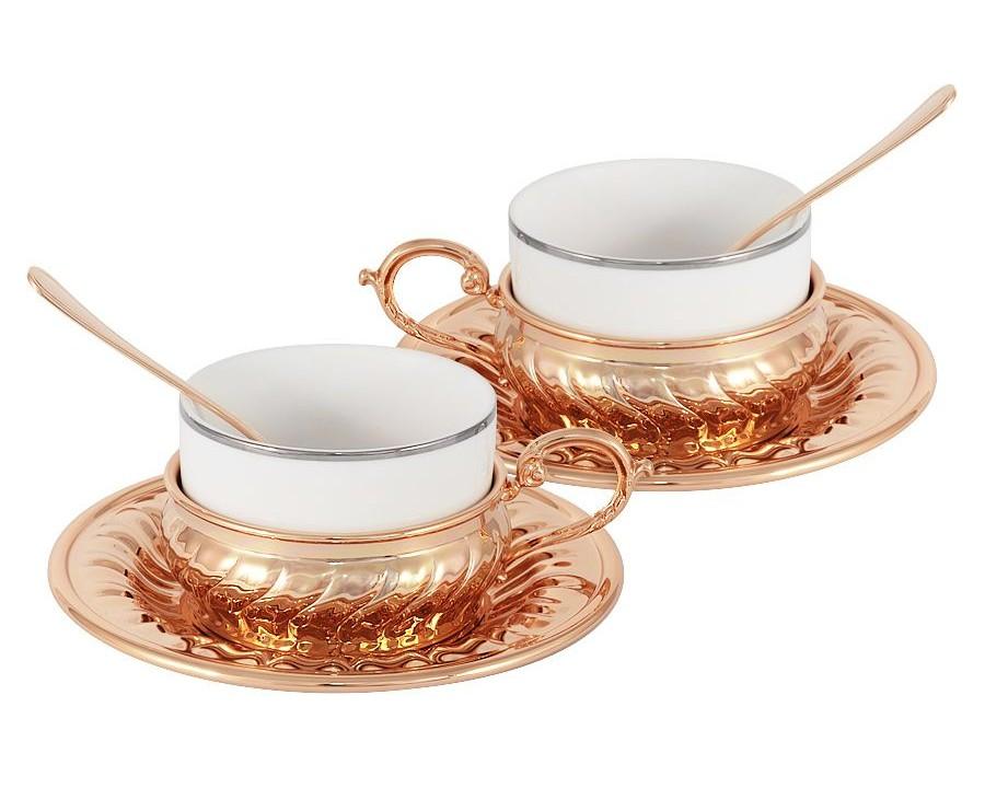 Чайный набор Stradivari (2шт.)Чайные пары, чашки и кружки<br>В комплекте: 2 чашки 0.15л, 2 блюдца, 2 ложки.<br><br>Material: Фарфор