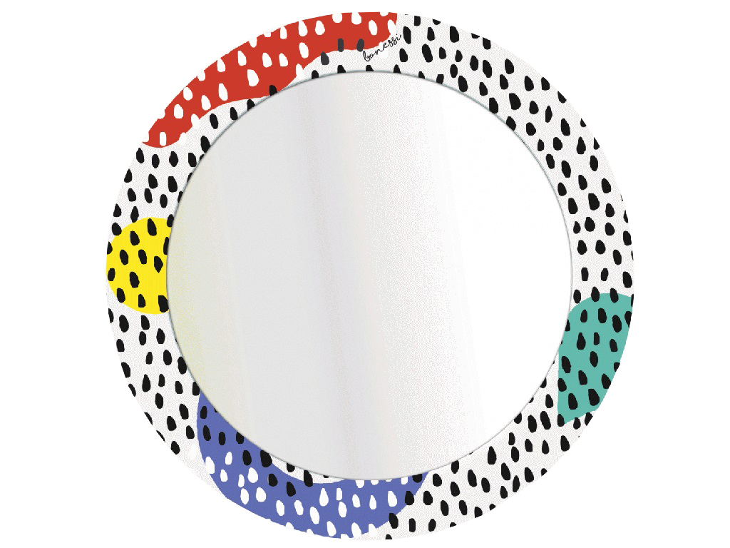 Зеркало DropsНастенные зеркала<br>Настенное зеркало в раме с минималистическим принтом из коллекции PRINT by BONESSI.&amp;amp;nbsp;<br>Вдохновением для создания этого зеркала послужило творчество Memphis Group - группы итальянских дизайнеров, которые с 1981 по 1987 год&amp;amp;nbsp;создавали&amp;amp;nbsp;постмодернистскую мебель. Творения&amp;amp;nbsp;Memphis Group&amp;amp;nbsp;характеризовались эфемерным дизайном с красочным орнаментом и асимметричными формами.* Обращаем Ваше внимание, что цвета на мониторе могут отличаться от оригинала, в зависимости от цветовых настроек Вашего монитора.<br><br>Material: Металл<br>Глубина см: 1