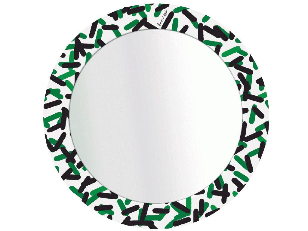 Зеркало PillsНастенные зеркала<br>Настенное зеркало в раме с минималистическим принтом из коллекции PRINT by BONESSI.&amp;amp;nbsp;<br>Вдохновением для создания этого зеркала послужило творчество&amp;amp;nbsp;Memphis Group - группы итальянских дизайнеров, которые&amp;amp;nbsp;с 1981 по 1987 год&amp;amp;nbsp;создавали&amp;amp;nbsp;постмодернистскую мебель. Творения&amp;amp;nbsp;Memphis Group&amp;amp;nbsp;характеризовались эфемерным дизайном с красочным орнаментом и асимметричными формами.*<br> Обращаем Ваше внимание, что цвета на мониторе могут отличаться от <br>оригинала, в зависимости от цветовых настроек Вашего монитора.<br><br>Material: Металл