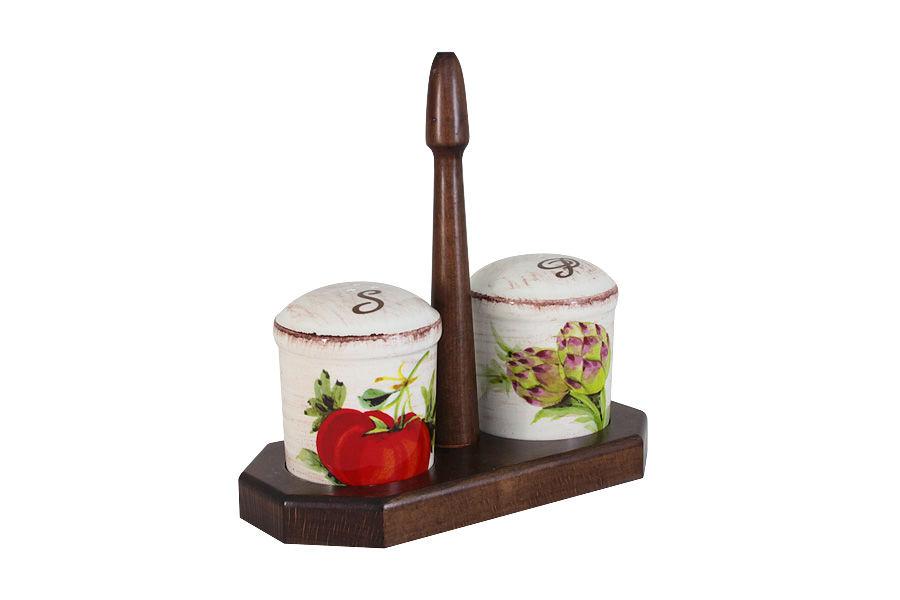 Набор для специй: солонка и перечница на  подставке Овощное ассортиНабор для специй<br><br><br>Material: Керамика
