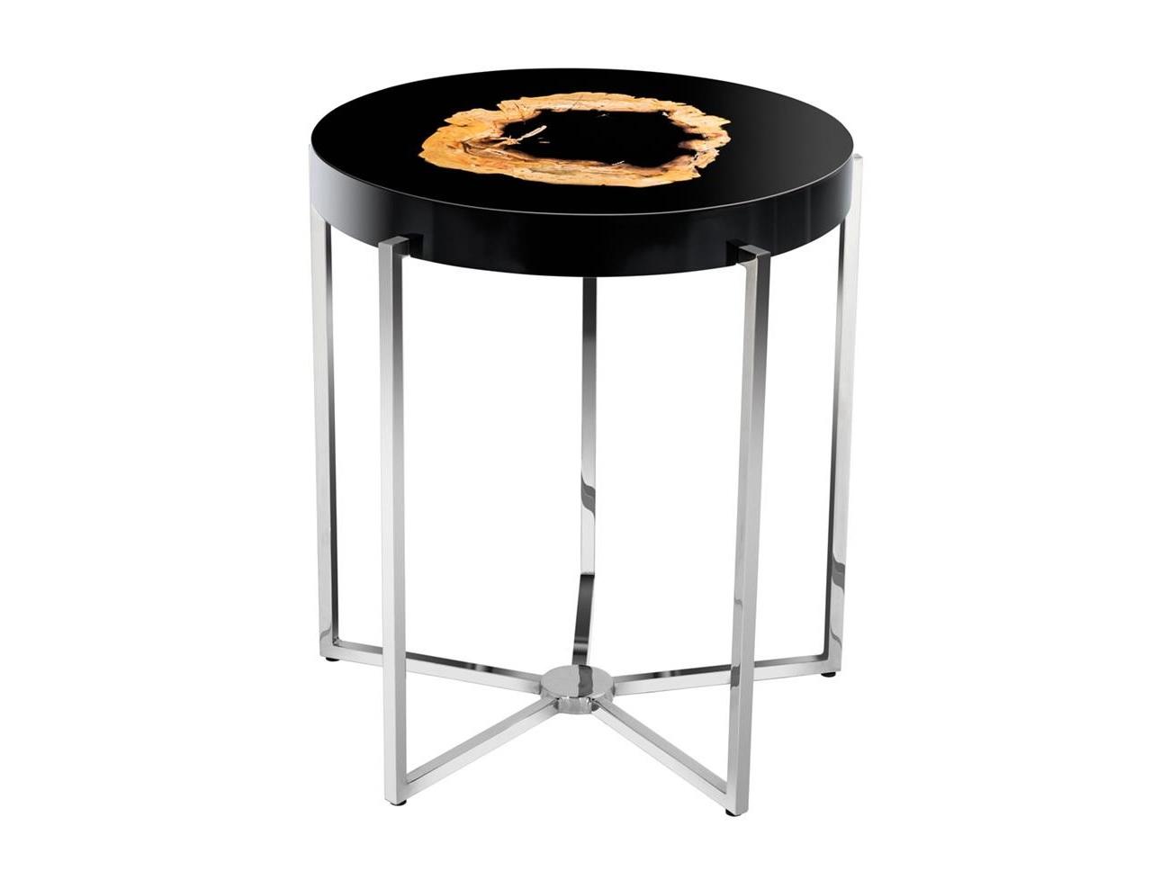 Столик PompidouПриставные столики<br>Столик на металлическом основании цвета никель. Оригинальная столешница из окаменелой породы древесины. Каждый элемент окаменевшего дерева является уникальным, вы не найдете двух одинаковых столешниц по цвету или форме. Поверхность стола черная глянцевая.<br><br>Material: Дерево<br>Высота см: 56