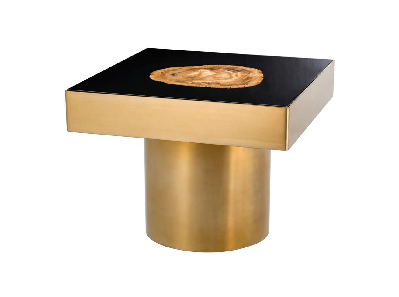 Столик VilliersЖурнальные столики<br>Столик на металлическом основании матового золотого цвета. Оригинальная столешница из окаменелой породы древесины. Каждый элемент окаменевшего дерева является уникальным, вы не найдете двух одинаковых столешниц по цвету или форме. Поверхность стола черная глянцевая.<br><br>Material: Дерево<br>Ширина см: 65<br>Высота см: 55<br>Глубина см: 65