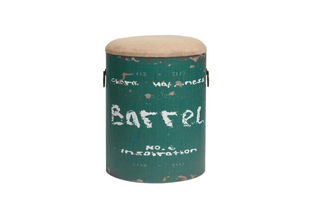 Табурет Barrel GreenТабуреты<br>Табурет Barrel Green изготовлен в виде состаренного металлического бочонка, окрашенного в зелёный цвет, с полустертыми надписями. Съёмная крышка табурета покрыта бежевой тканью, в виде пены. Впечатляет многофункциональность столика-табурета, а также лаконичное сочетание формы и декора.<br><br>Material: Железо<br>Высота см: 46