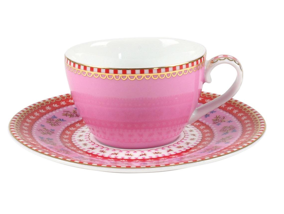 Набор маленьких чашек с блюдцами Floral (2шт)Чайные пары, чашки и кружки<br>Объём 80 мл. Не использовать в микроволновой печи. Не рекомендуется мыть в посудомоечной машине.<br><br>Material: Фарфор<br>Высота см: 5