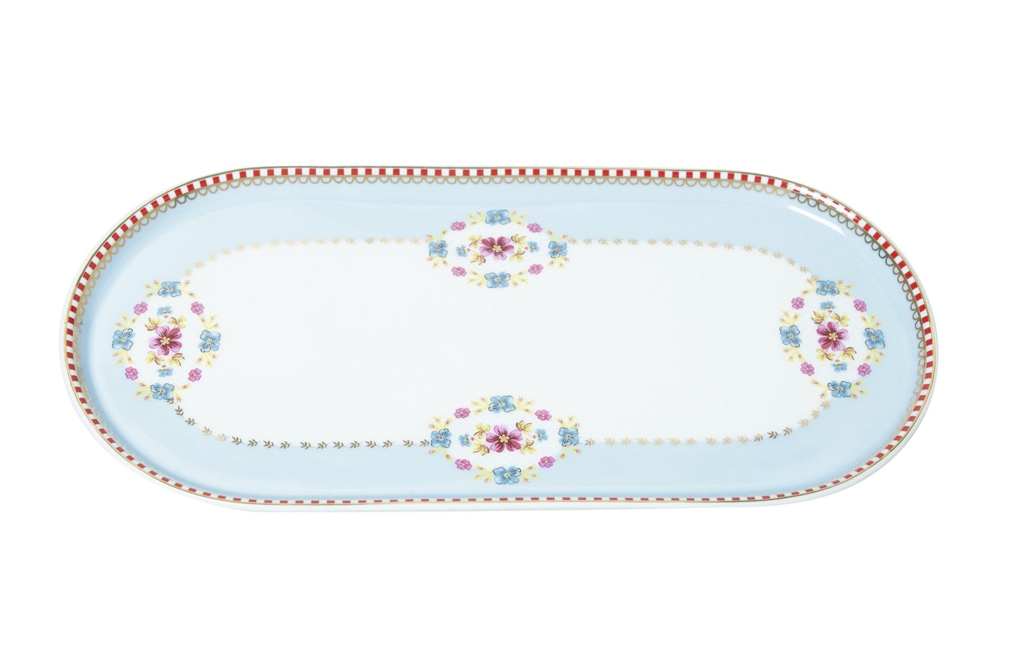 Набор прямоугольных тарелок Floral Blue (2шт)Тарелки<br>Коллекция посуды Floral появилась в 2008 г. и состоит из нескольких дизайнов, которые прекрасно сочетаются между собой и отлично дополняют друг друга. Особенность коллекции - в декорировании цветами, птицами и позолотой на всех предметах. Коллекция состоит из трёх цветовых групп - розовой, хаки и голубой, которые можно бесконечно комбинировать между собой. Коллекция также включает в себя кухонный текстиль и стекло.&amp;lt;div&amp;gt;&amp;lt;br&amp;gt;&amp;lt;/div&amp;gt;&amp;lt;div&amp;gt;&amp;lt;span style=&amp;quot;font-size: 14px;&amp;quot;&amp;gt;Не использовать в микроволновой печи. Не рекомендуется мыть в посудомоечной машине.&amp;amp;nbsp;&amp;lt;/span&amp;gt;&amp;lt;br&amp;gt;&amp;lt;/div&amp;gt;<br><br>Material: Фарфор<br>Width см: 25<br>Depth см: 11<br>Height см: 1.5
