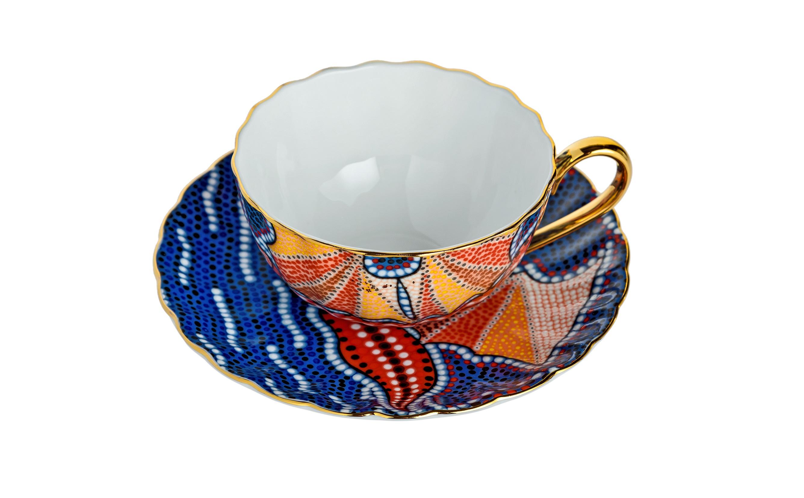 Чайная пара МозаикаЧайные пары, чашки и кружки<br>Размер: чашка D9,5хH5 см; блюдце D14,5 см.<br><br>Material: Керамика<br>Высота см: 5