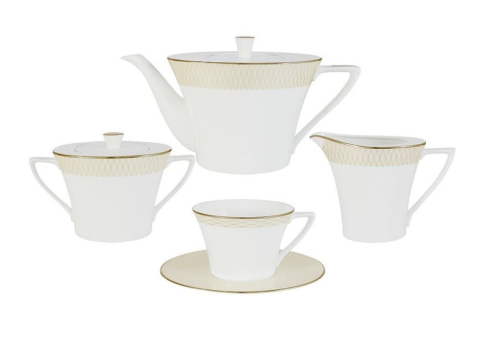Чайный сервиз из 17 предметов на 6 персон Бриз ГолдЧайные сервизы<br><br><br>Material: Фарфор