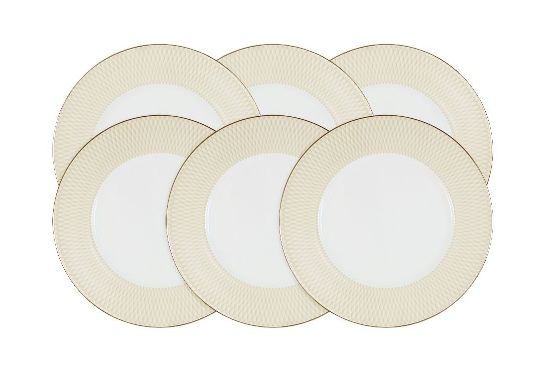 Набор обеденных тарелок Бриз Голд (6шт)Тарелки<br><br><br>Material: Фарфор