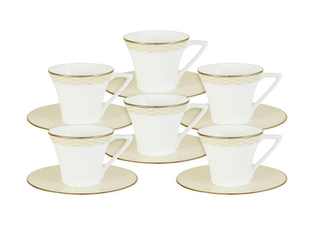 Кофейный набор Бриз ГолдЧайные пары, чашки и кружки<br>В набор входит:&amp;amp;nbsp;6 чашек + 6 блюдец<br><br>Material: Фарфор