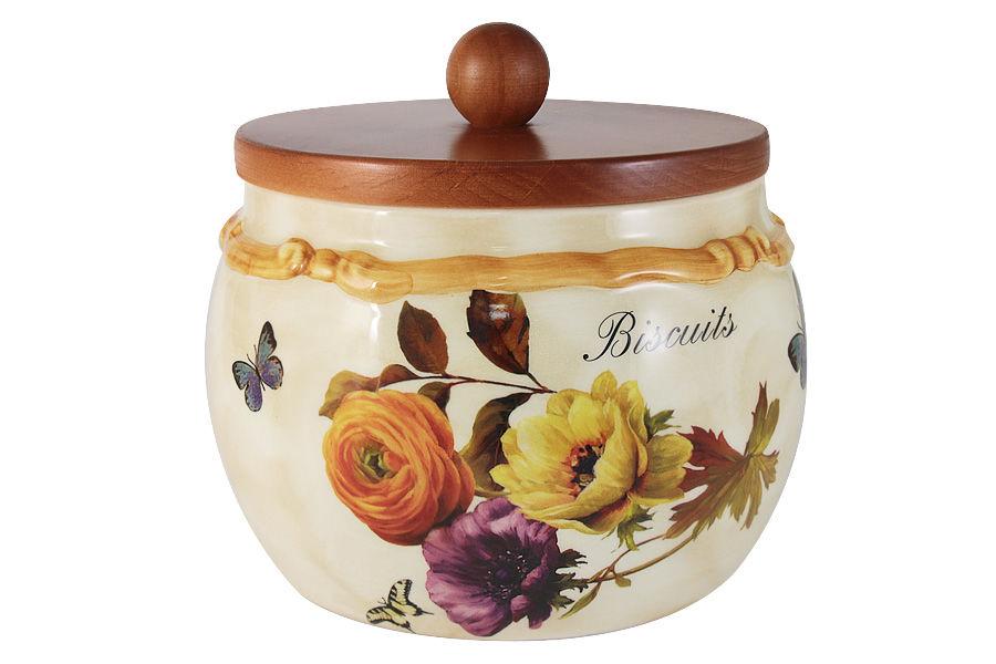 Банка для сыпучих продуктов с деревянной крышкой ЭлегансЕмкости для хранения<br><br><br>Material: Керамика