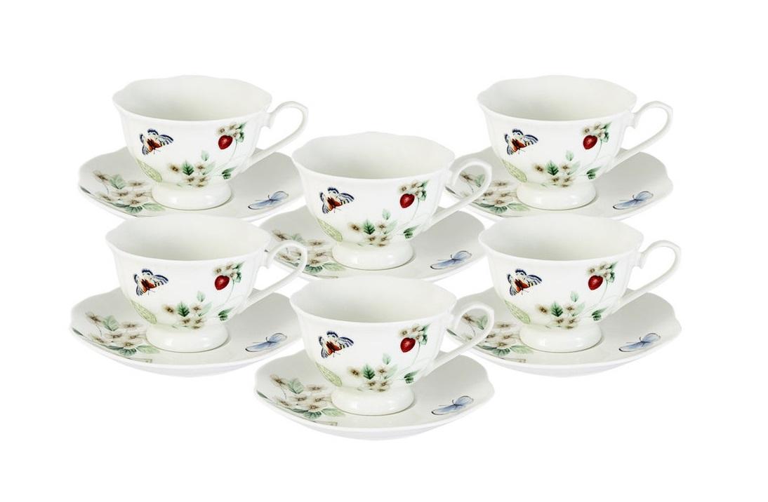 Набор: 6 чашек + 6 блюдец Ягодная полянаЧайные пары, чашки и кружки<br><br><br>Material: Фарфор