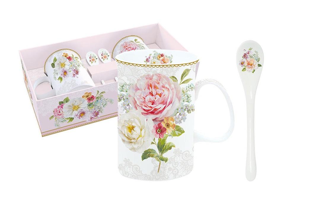 Набор: 2 кружки + 2 ложки Цветочная романтикаЧайные пары, чашки и кружки<br><br><br>Material: Фарфор