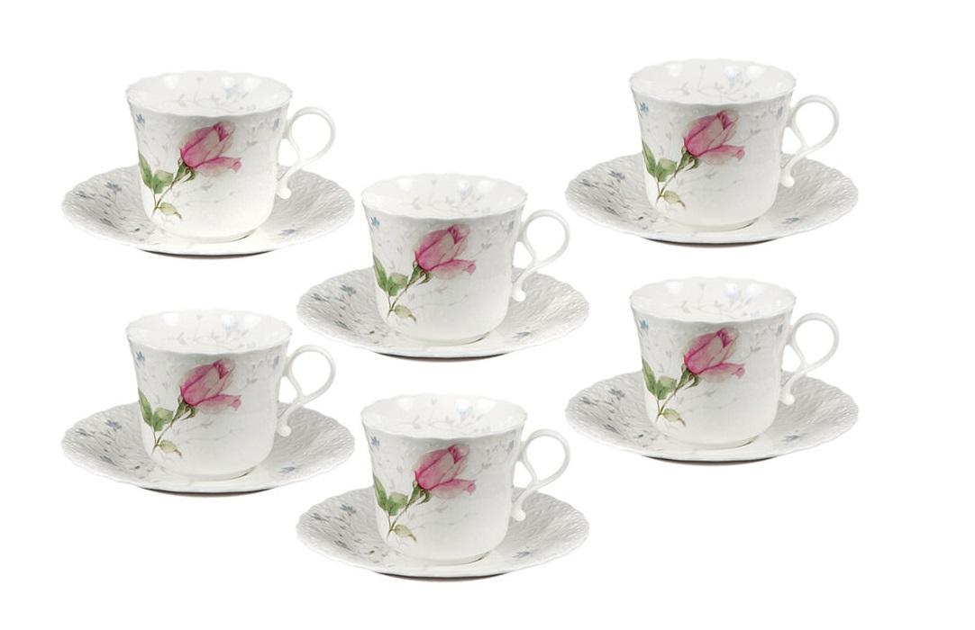 Набор: 6 чашек + 6 блюдец Апрельская розаЧайные пары, чашки и кружки<br><br><br>Material: Фарфор