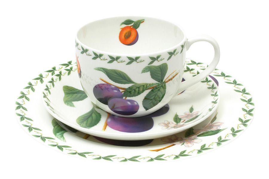Набор: чашка, блюдце, тарелка СливаЧайные пары, чашки и кружки<br>В подарочной упаковке.<br><br>Material: Фарфор