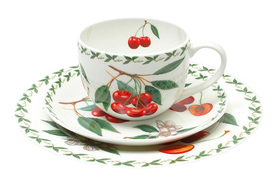 Набор: чашка, блюдце, тарелка ВишняЧайные пары, чашки и кружки<br>В подарочной упаковке.<br><br>Material: Фарфор
