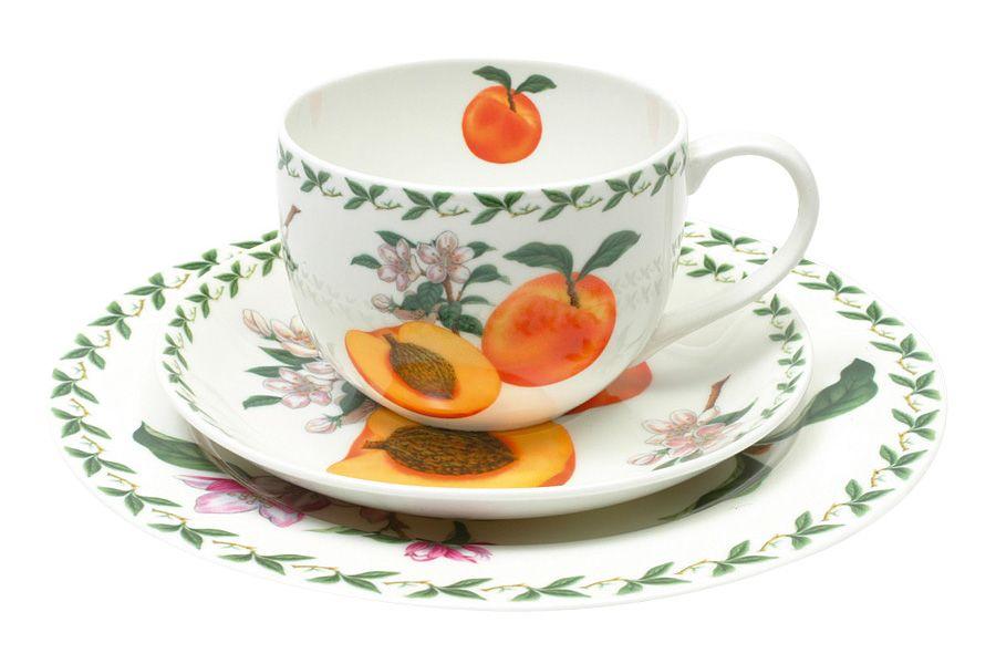 Набор: чашка, блюдце, тарелка АбрикосЧайные пары, чашки и кружки<br>В подарочной упаковке.<br><br>Material: Фарфор