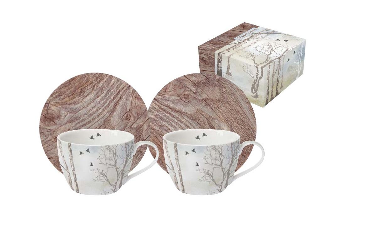Набор: 2 чашки + 2 блюдца для кофе ПриродаЧайные пары, чашки и кружки<br><br><br>Material: Фарфор