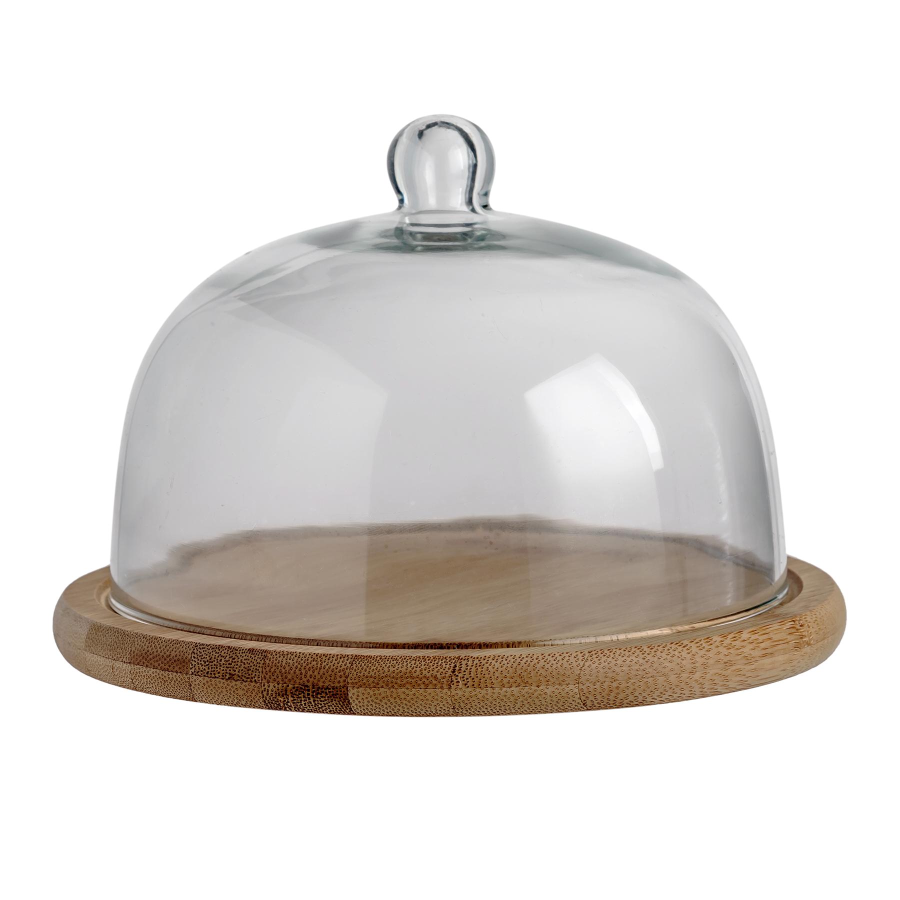 Купол декоративный ПироженкиПодставки и доски<br>Размер: купол D24хH17 см; подставка D25 см.<br><br>Material: Стекло<br>Высота см: 17