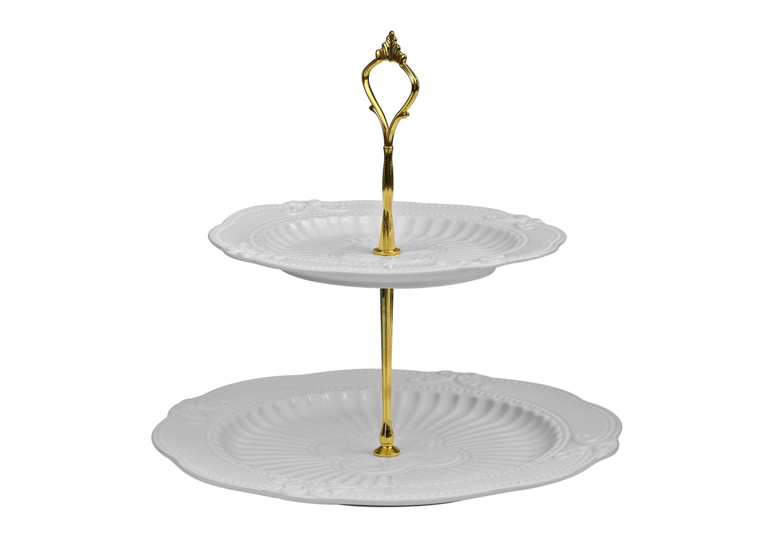 Подставка Белоснежная в золотеПодставки и доски<br><br><br>Material: Керамика<br>Высота см: 25