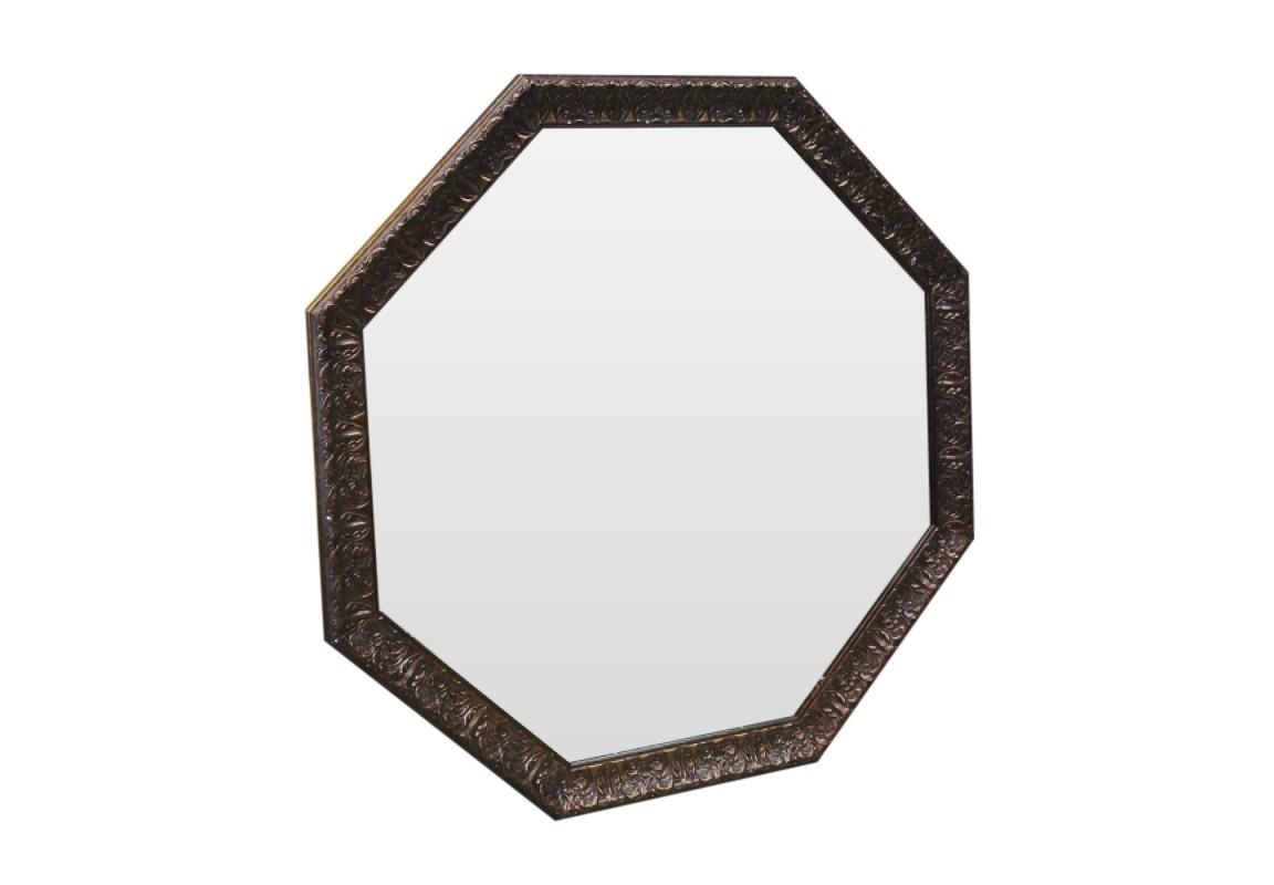 Зеркало Медная лаваНастенные зеркала<br>Благородный бронзовый цвет превращает это зеркало, выполненное в форме шестигранника, в предмет достояния и лоска. Где бы Вы его не разместили - в прихожей, в зале или в уборной - оно везде займет свое место  и с достоинством будет украшать Вашу обитель.<br><br>Material: Полиуретан<br>Ширина см: 96<br>Высота см: 96<br>Глубина см: 5