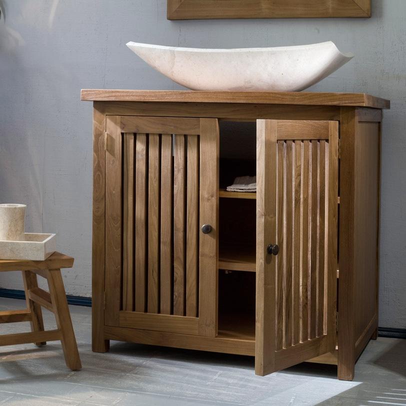 Тумба  Java 80Тумбы для ванной<br>Двухстворчатая тумба для полотенец и аксессуаров для ванной, бани или сауны выполнена из влагостойкого тикового дерева.<br><br>Высота тумбы со съемными ножками 84см, без - 75см.<br><br>Material: Тик<br>Length см: None<br>Width см: 80.0<br>Depth см: 55.0<br>Height см: 84.0<br>Diameter см: None