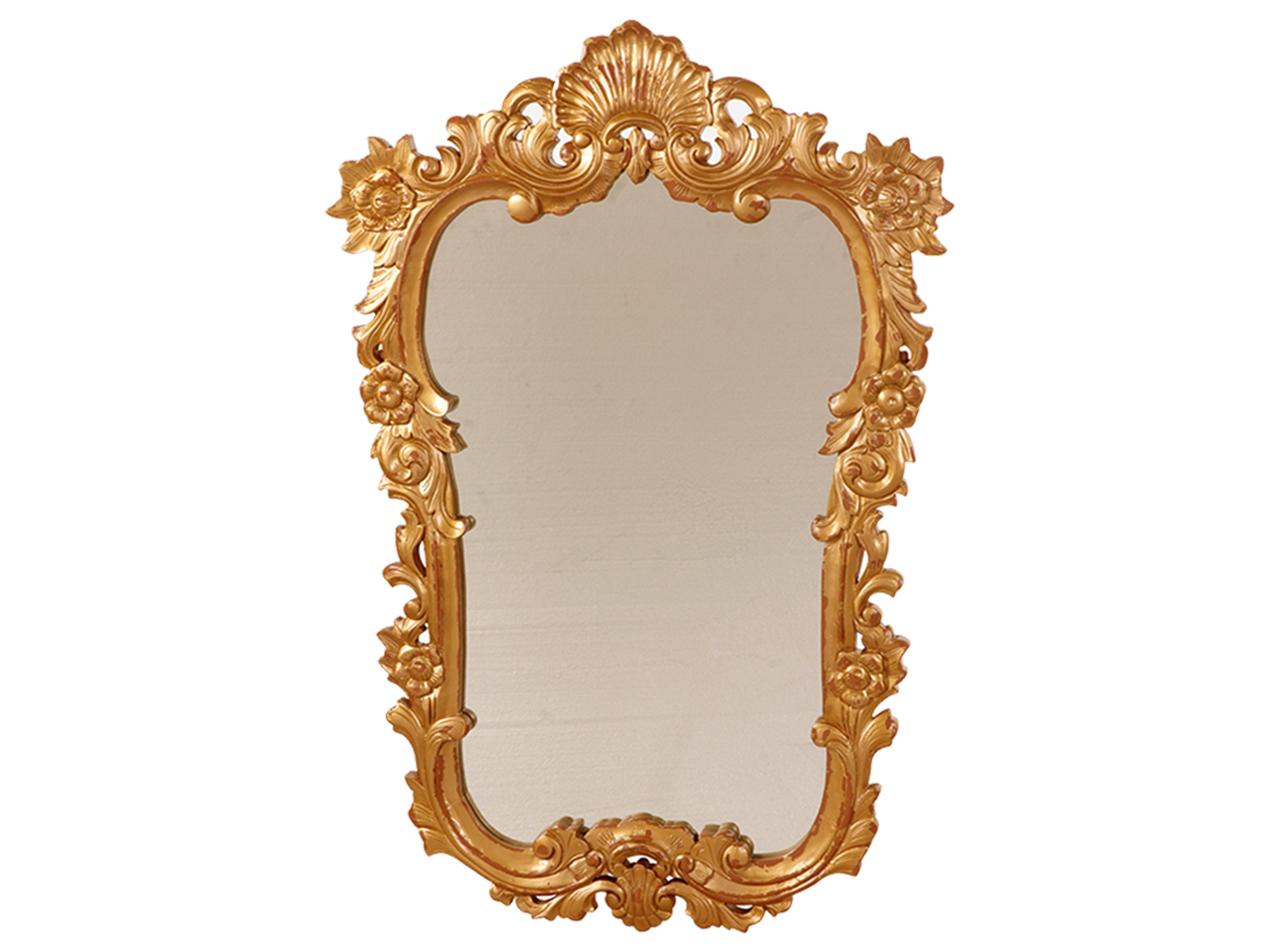 ЗеркалоНастенные зеркала<br>Зеркало в стиле барокко, украшено резьбой и старением.<br><br>Material: Красное дерево<br>Ширина см: 80<br>Высота см: 120<br>Глубина см: 3