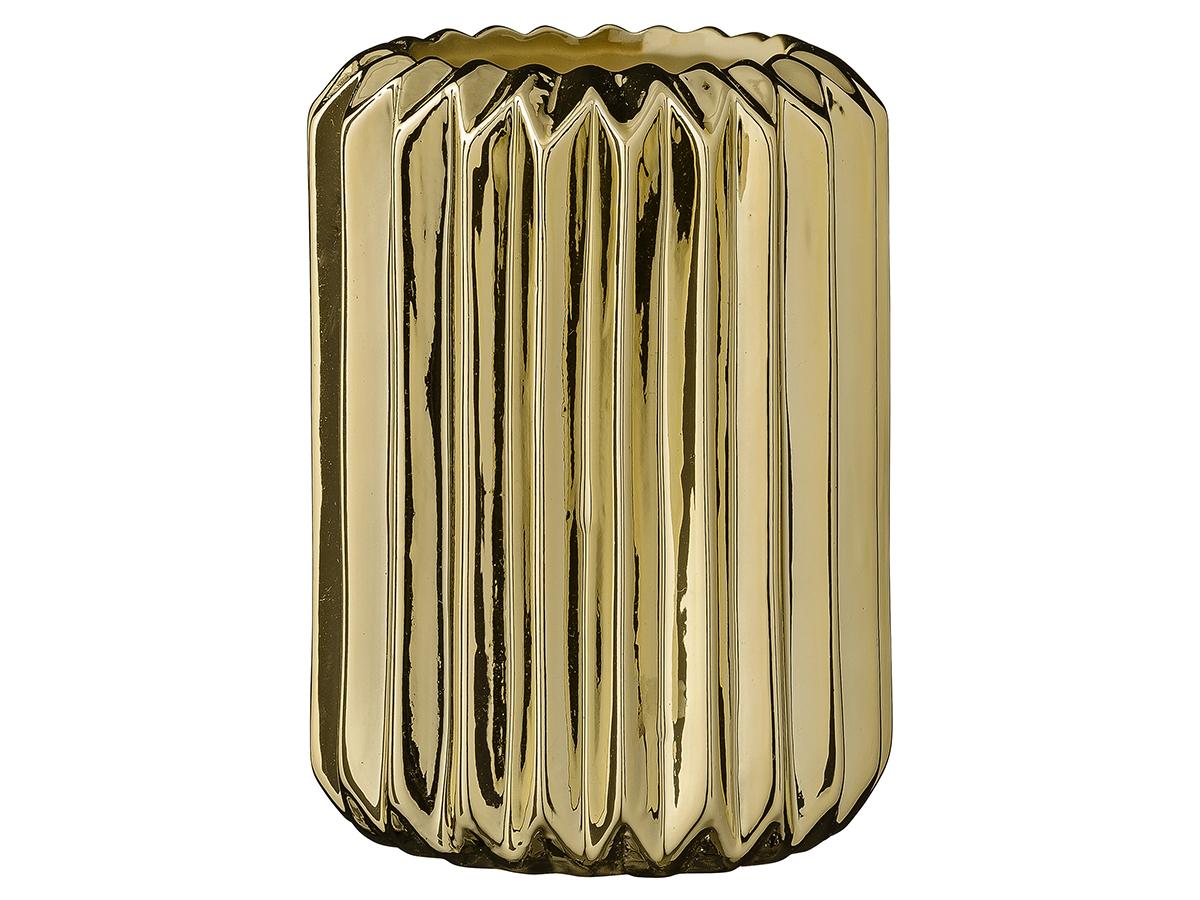 Ваза FlutedВазы<br>Эта ваза от датских дизайнеров Bloomingville не останется не заметной! Керамическая ваза золотого цвета с рельефной поверхностью будет очень стильно смотреться в современном интерьере! Почему бы не совместить даже несколько различных ваз на подносе, например на журнальном столике в гостинной?<br><br>Material: Керамика<br>Высота см: 13